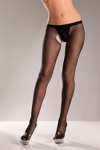 Be Wicked Crotchless Pantyhose Black